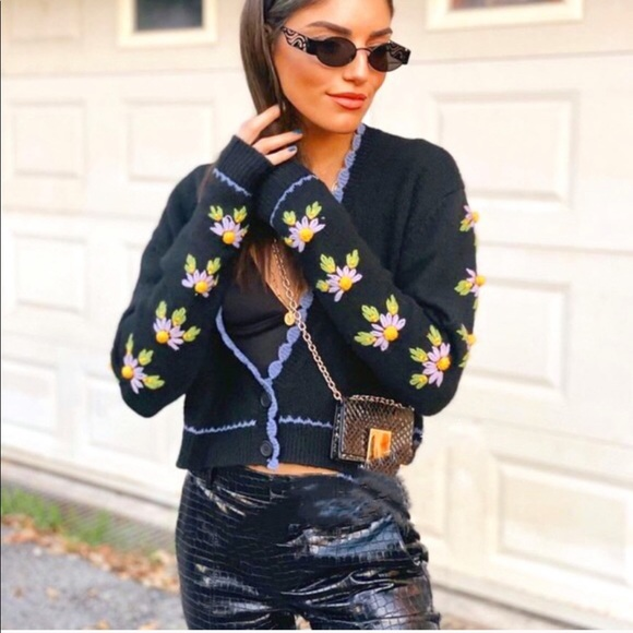 Zara embroidered knit cardigan